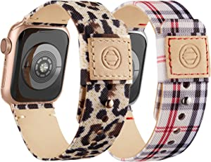 Compatible with Apple Watch Bands 38mm 40mm, Soft Cloth Fabric iWatch Bands Women Men Canvas with Genuine Leather Lining and Snap Button Straps for Apple Watch Series 6/5/4/3/2/1/SE,Lattice, Leopard