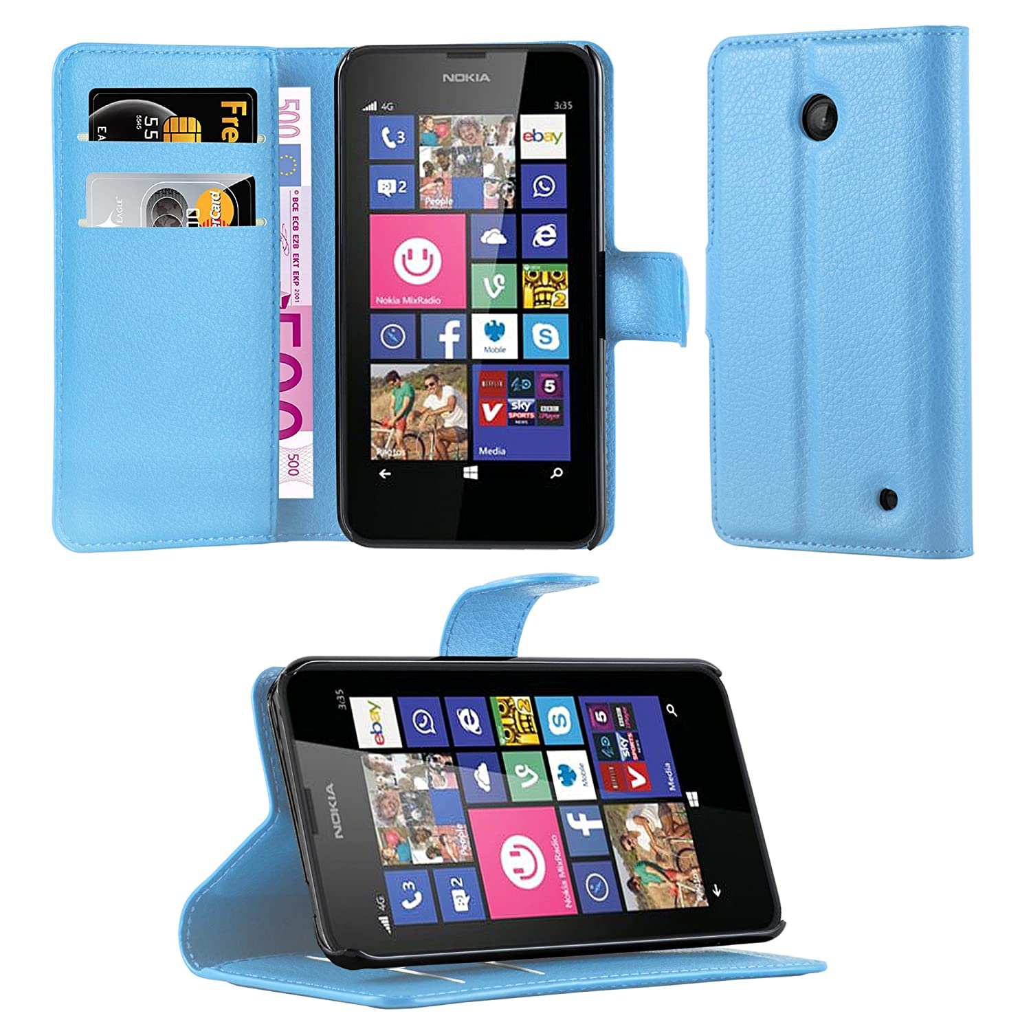free shipping 2fe42 cbe95 Cadorabo Book Case Works with Nokia Lumia 630/635 in Sky Blue – with  Magnetic Closure, Stand Function and Card Slot – Wallet Etui Cover Pouch PU  ...