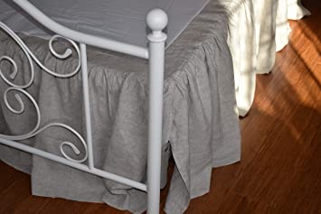 Low Profile Bed Skirt.Low Profile Luxury Pure French Linen Bed Skirt With Ruffles In Natural Linen Color Queen