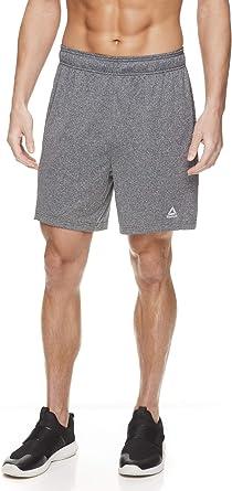 Reebok Sport Mens Medium Drawcord w//Reflective Logo Active Short Grey//Red