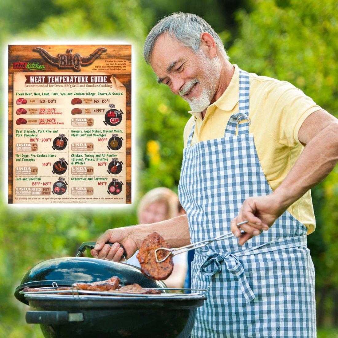 Alta Precisión Termómetro Digital barbacoa + Temperatura de carne Guía Imán + 2 pilas gratuitas by Intel Cocina para Horno y barbacoa cocinar.