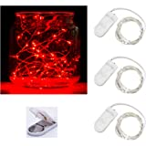 Pack of 3 sets LED Moon Lights 20 Micro Starry LEDs on Silver Extra Thin Copper Wire, 2 x CR2032 Batteries Required and Included, 3.5 Ft (1m) for DIY Wedding Centerpiece or Table Decorations (Red)