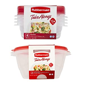 Rubbermaid TakeAlongs Food Storage Containers, 2.9 Cup, 4-Pack bundle with Rubbermaid TakeAlongs 15.7 Cups Serving Bowls, 2 Count