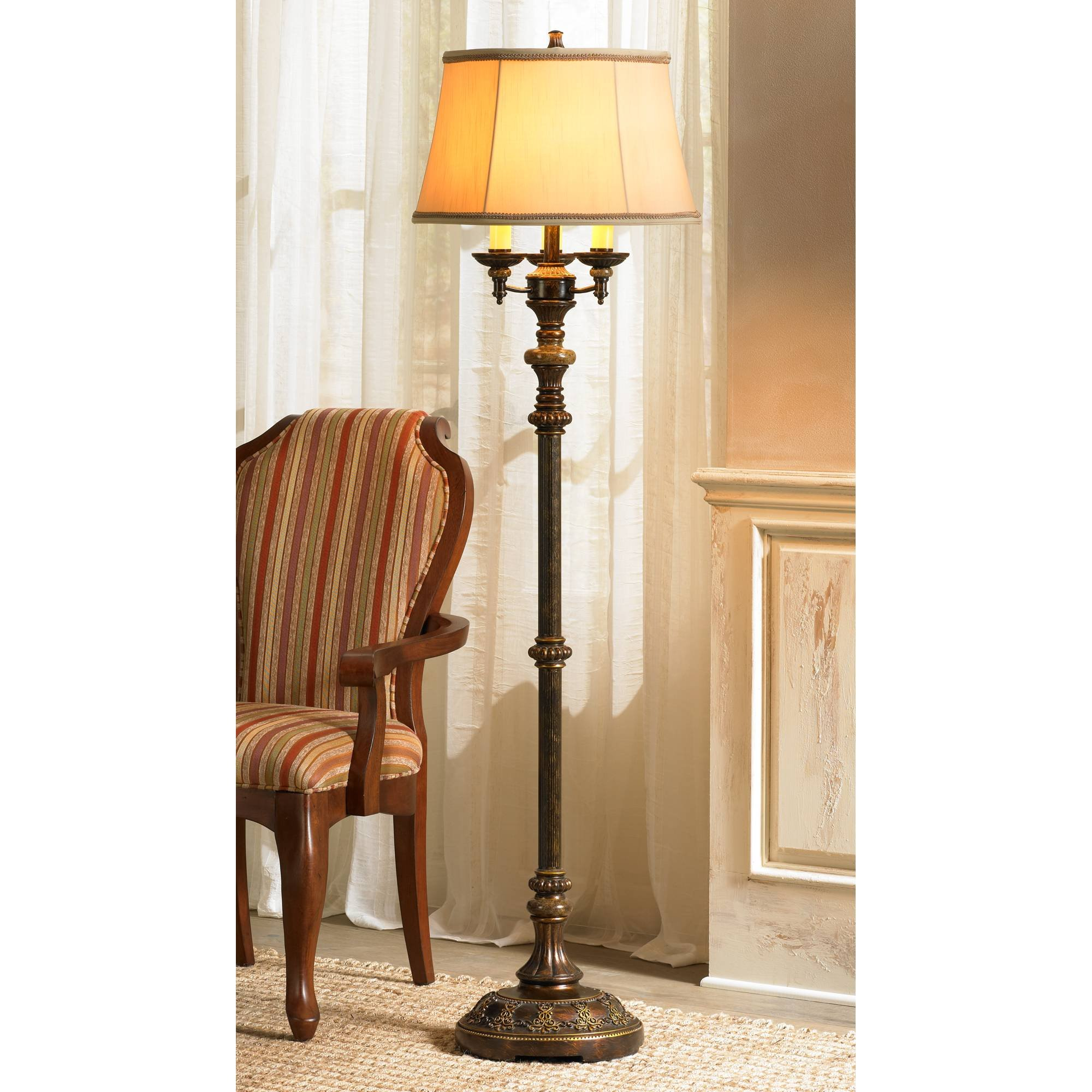 Traditional Tall Standing Floor Lamp Candelabra Style 4-Light Italian Bronze Gold Bell Shade Decor for Living Room Reading House Bedroom Home Office - Barnes and Ivy