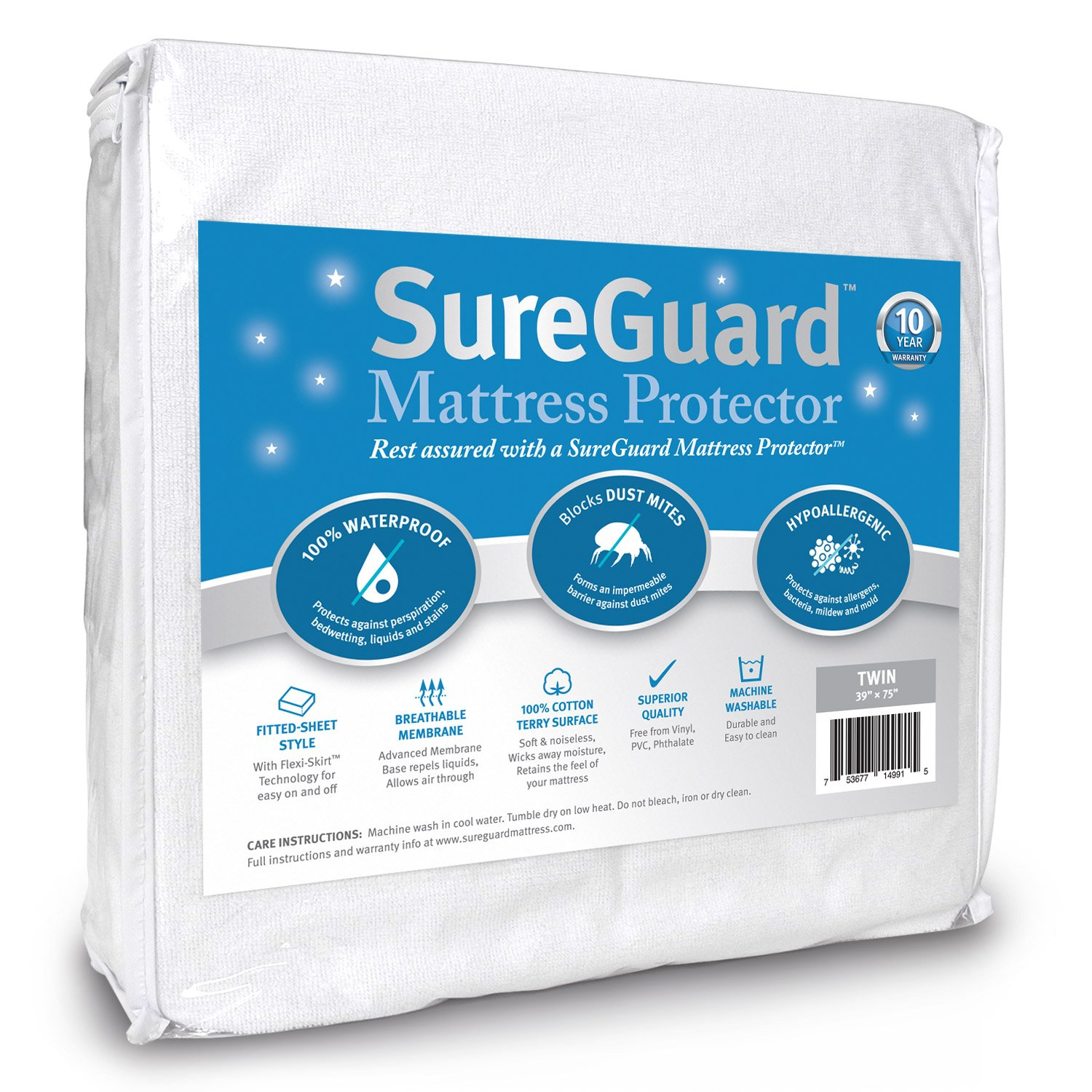 SureGuard Mattress Protectors Twin Size 100% Waterproof, Hypoallergenic - Premium Fitted Cotton Terry Cover - 10 Year Warranty