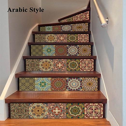 6 Unids/Set 3D Auto-Adhesivo Estilo Árabe Escalera Pegatinas Calcomanías Creativas Decorativas DIY Pasos Etiqueta Extraíble Escaleras para La Sala De Estar Decoración: Amazon.es: Hogar