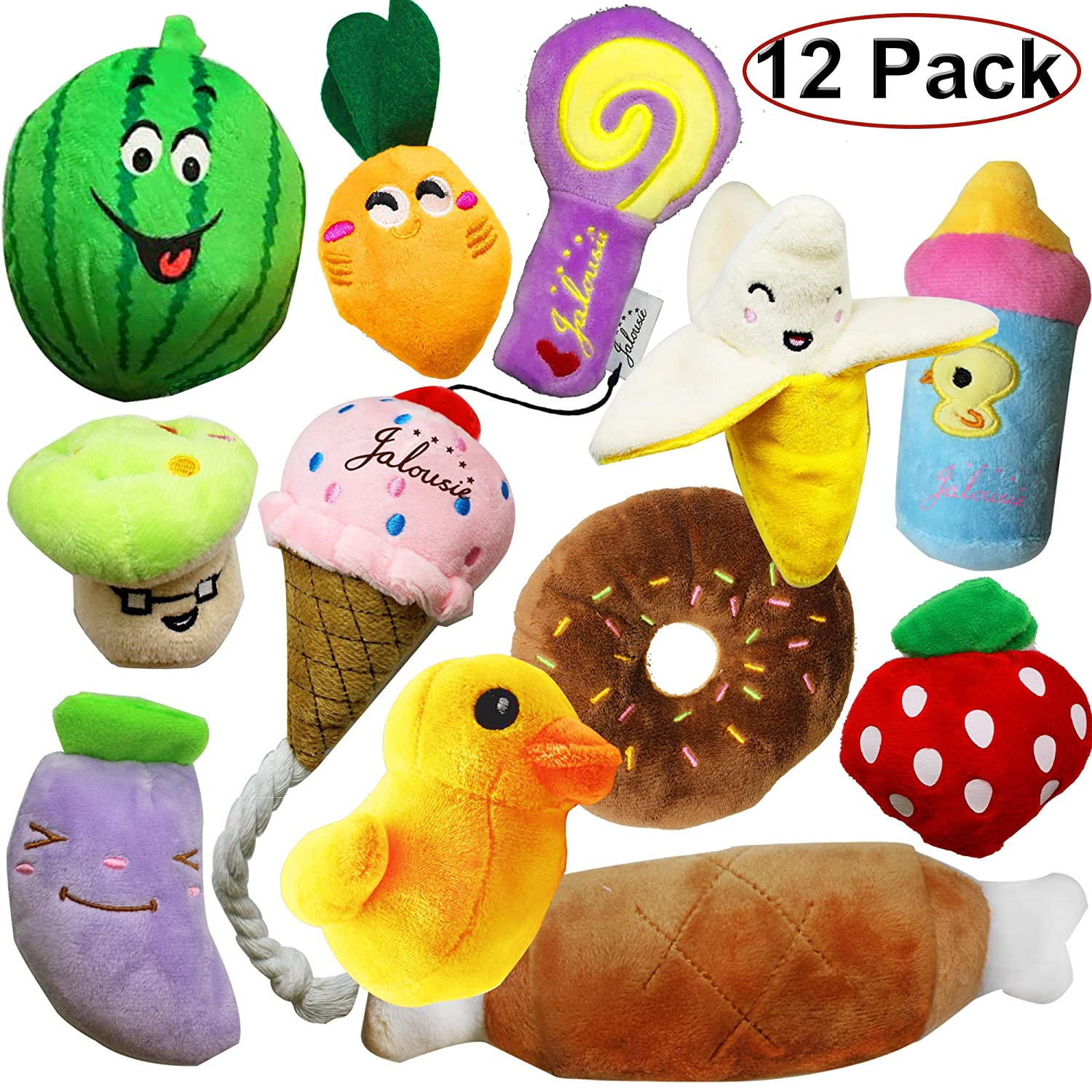 Jalousie 12 Pack Dog Squeaky Toys Cute Plush Toys Small Medium Dog Pets