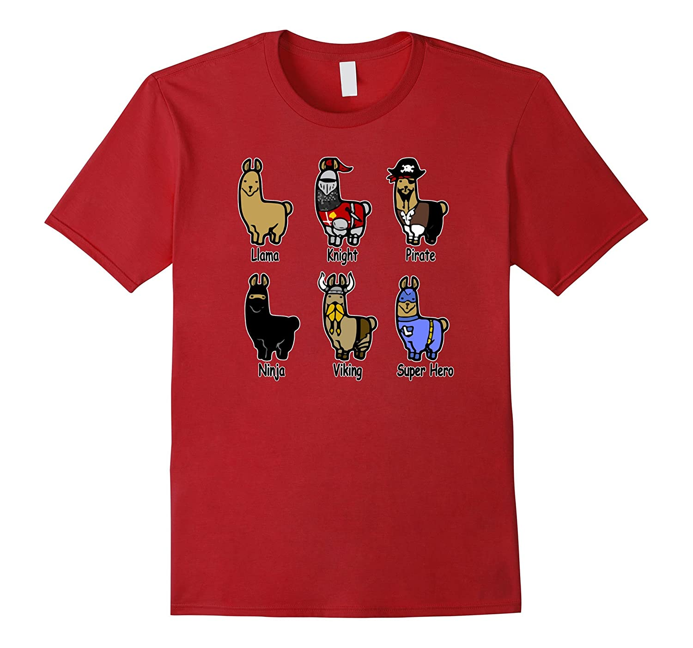 Llama T-Shirt Funny Llama Ninja Pirate Knight Viking Hero-BN