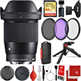 Sigma 16mm f/1.4 DC DN Contemporary Lens Panasonic Olympus Micro Four Thirds Bundle with 64GB Memory Card, 3 Piece…