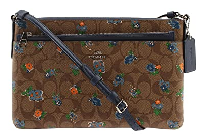 8103e21b1 COACH Signature Floral Coated Canvas with Pop Up Pouch Crossbody, F58383  (Khaki/Blue