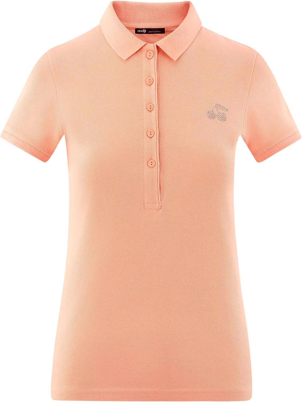 oodji Ultra Womens Pique Polo Shirt with Rhinestone Applique