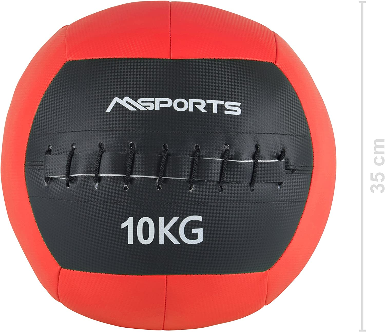 MSPORTS Wall de Pelota Premium Peso 2 – 10 kg Balón Medicinal, 10 kg - Rot: Amazon.es: Deportes y aire libre