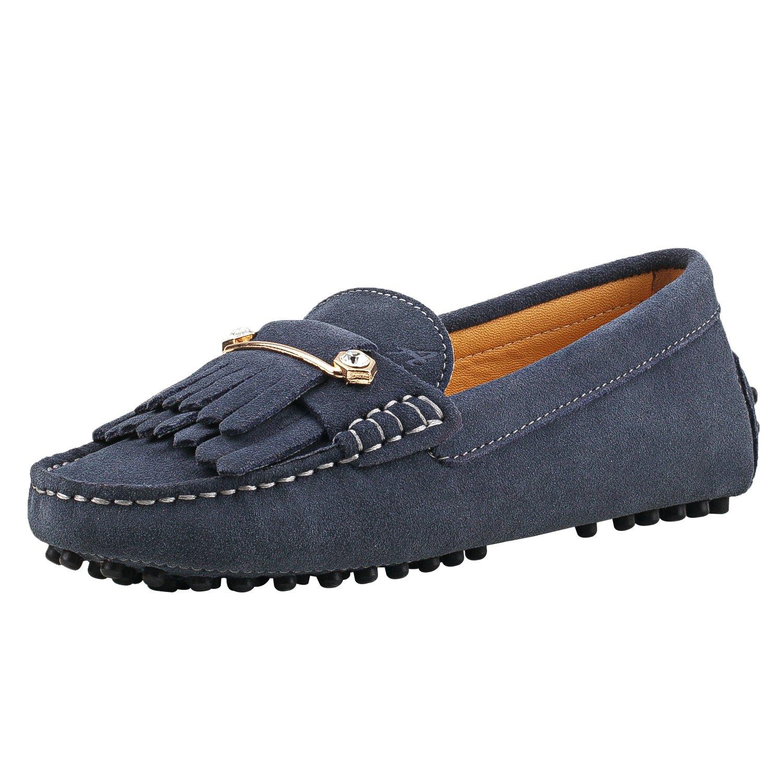 Shenduo Damen Mokassins Leder Schuhe Casual Slippers mit Metallschnallen und Bommel D7066