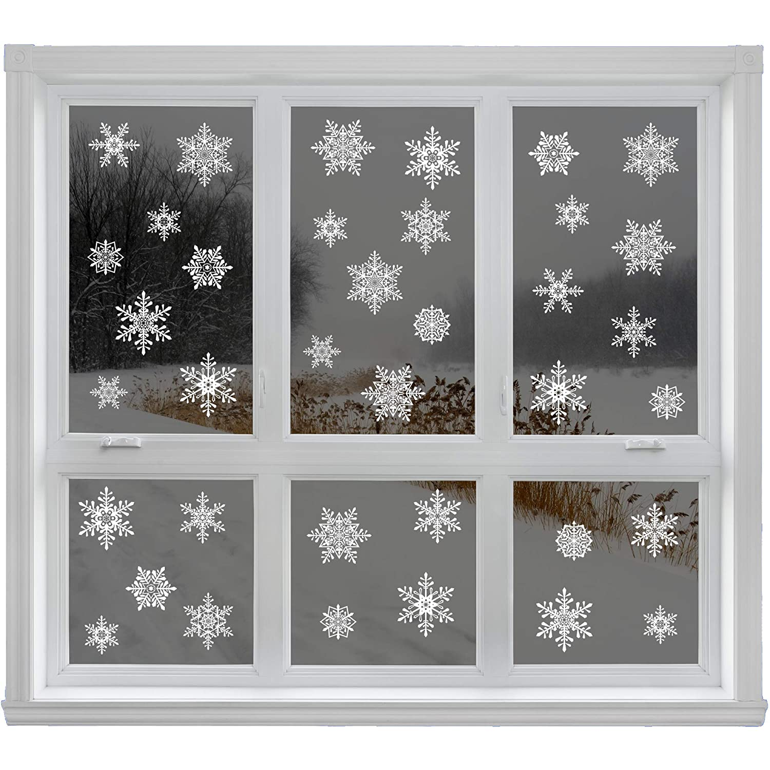 42 Elegant Snowflake Window Clings - Quick and Simple Christmas Decorations - Glueless PVC Stickers Articlings