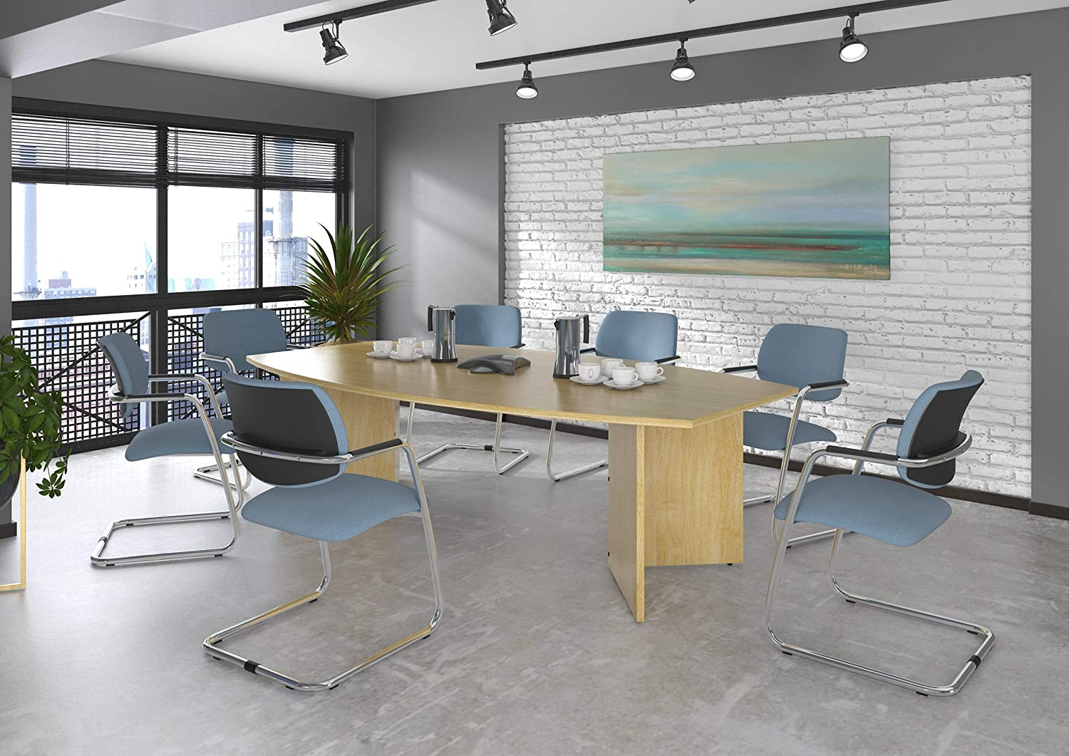 OFP Direct Radial end meeting table 2400mm x 1000mm with 6 chrome radial legs maple