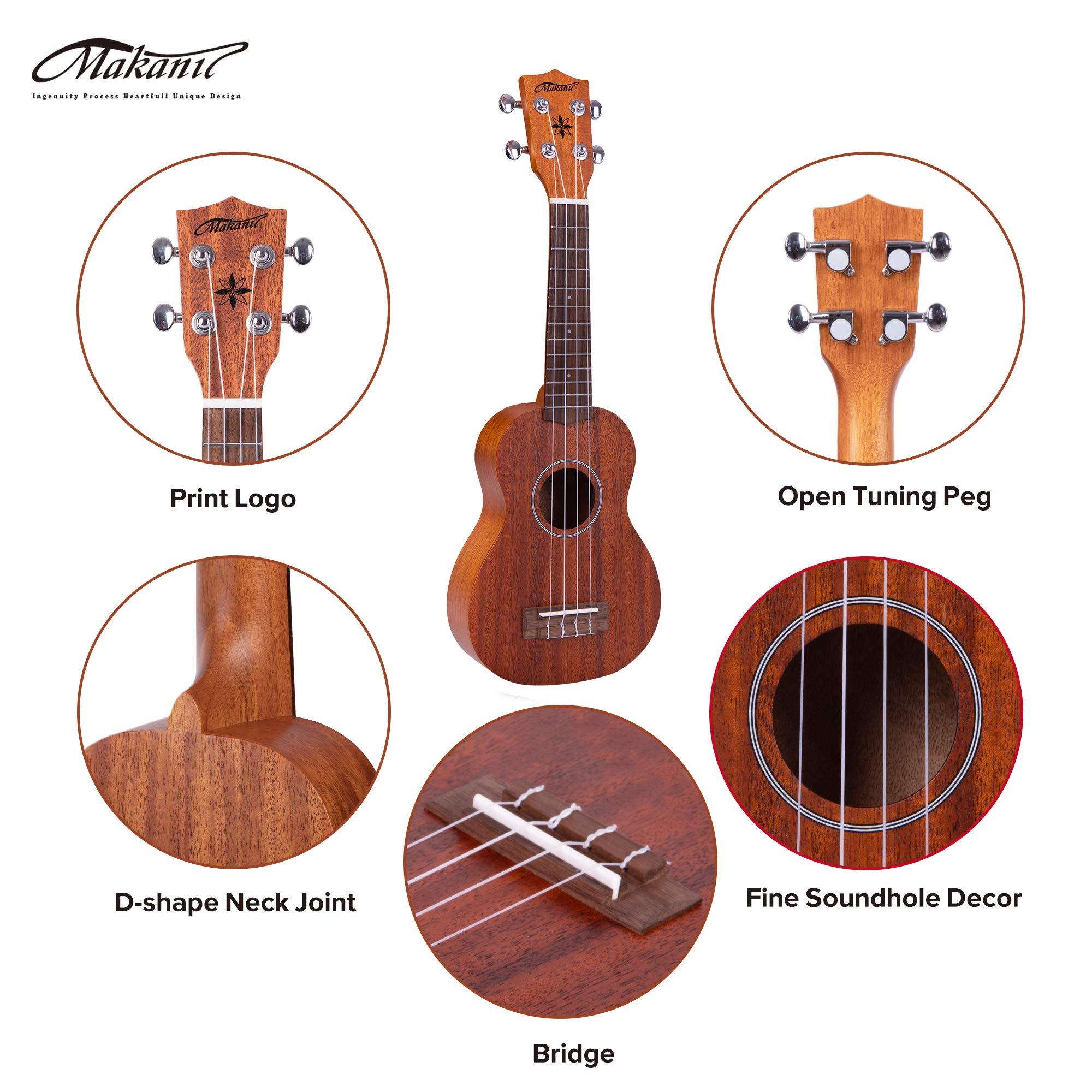 Makanu Soprano Ukulele Sapele 21 Inch Ukulele with Gig Bag for Beginners Matt Finish Four String Guitar