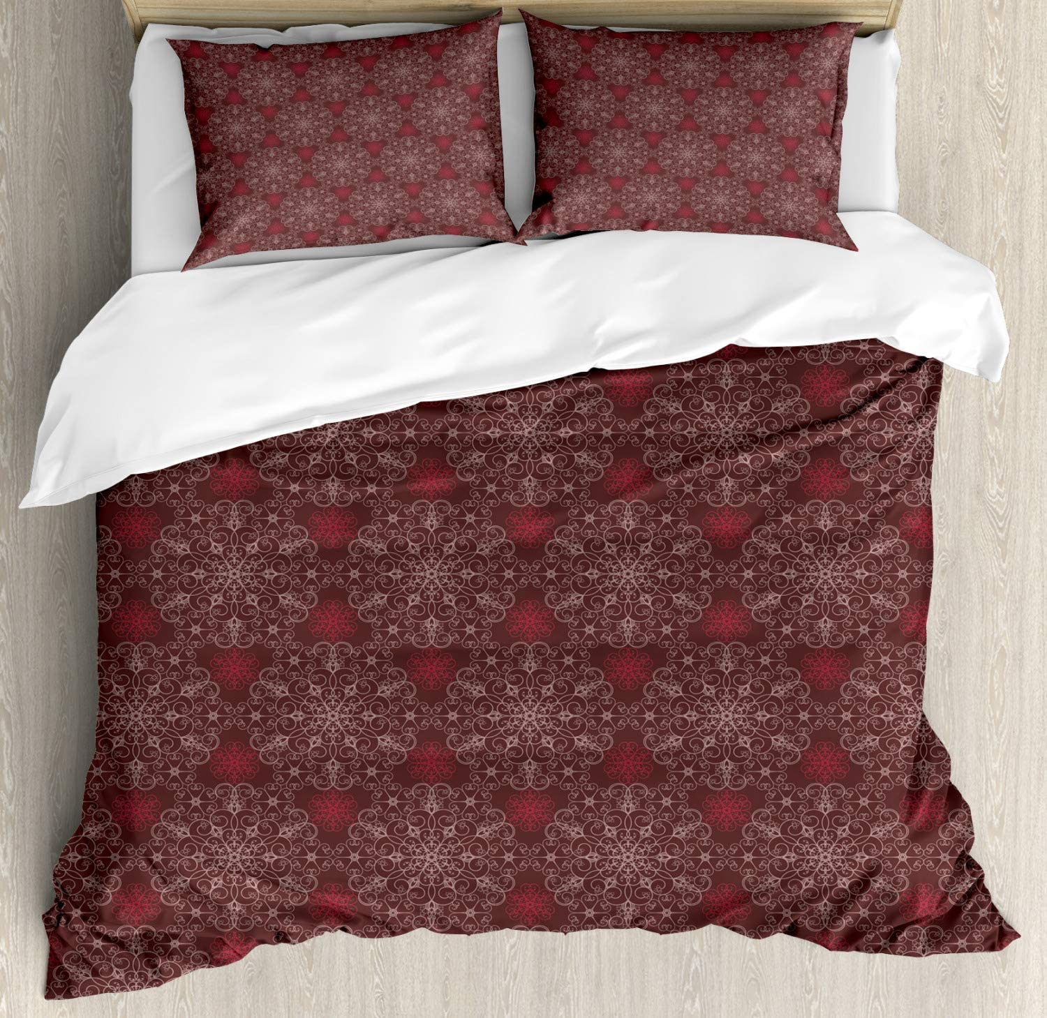 Ambesonne Maroon Duvet Cover Set, Detailed Ornate Flowers Curves Swirls Petals Dusky Victorian Garden, Decorative 3 Piece Bedding Set with 2 Pillow Shams, King Size, Burgundy Maroon