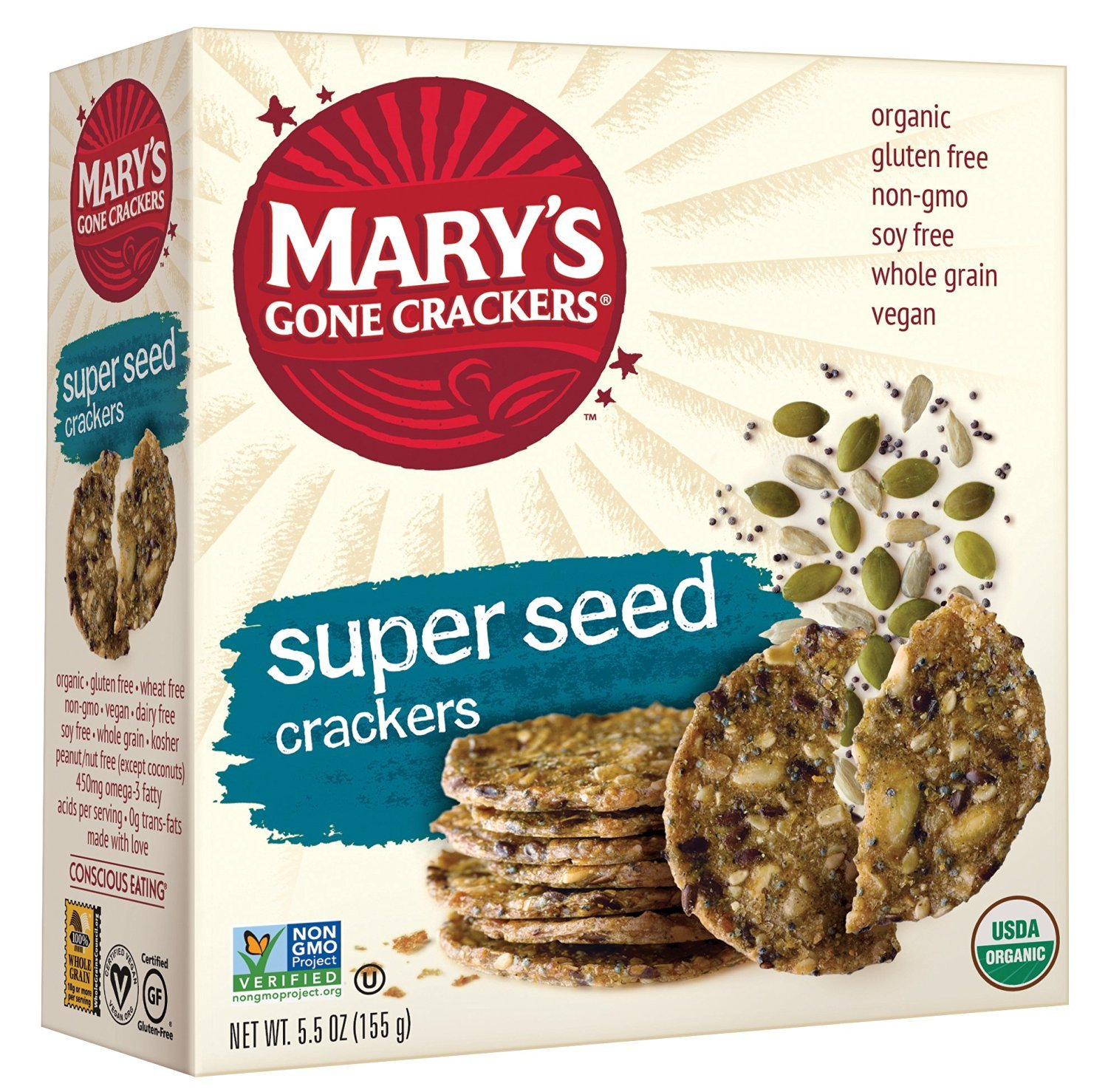 Mary's Gone Crackers, Organic, Super Seed Crackers, 5.5 oz (155 g) 2 Pack