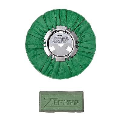 "Zephyr AWG58-8WB Green 8"" Hall Airway Buffing Wheel with 1 LB Green Bar Medium/Lite Cut, 1 Pack: Automotive"