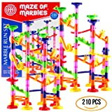 DOUBLE-HUGE Marble Run Construction Toy Set for Kids – Large set of 210 Pieces – Enjoy the double fun of building two sets and trying to connect them, Includes a set of 150 pieces & 60 Marbles