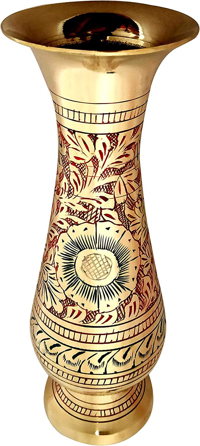 Akanksha Arts Made of Brass - 8 inch high Vase - A Rare Indian Decor - Alluring Nakkashi, Lovely Collectible - for Dry Flowers, Not Recommended for Water Filling