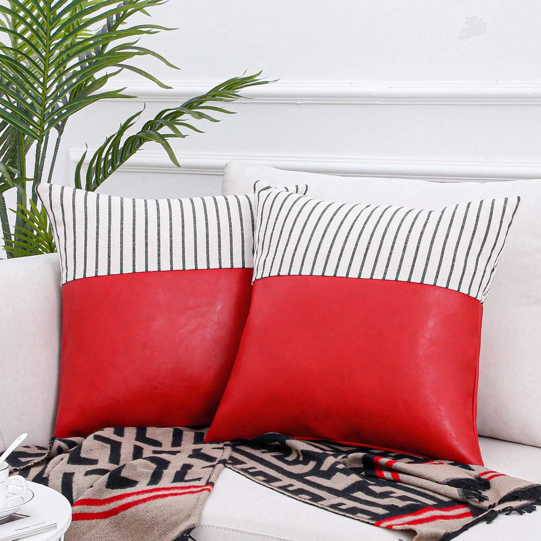 Topfinel Fundas Cojines Sofá Cama Hogar Algodón Lino Cuero Decorativa Almohadas Fundas para Sala de Estar Coche Jardín 2 Juegos 50x50cm Rojo
