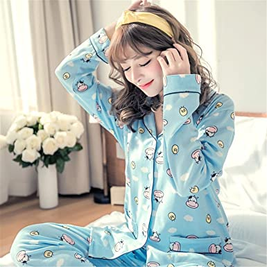 Madehappy New Pajama Sets Women Cute Corgi Print French Bulldog 2 Pieces Set Long Sleeve Elastic