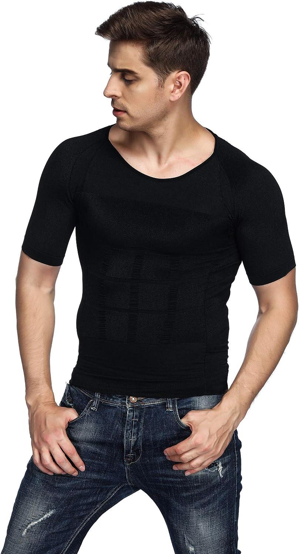 Odoland Mens Body Shaper Slimming Shirt Tummy Vest Thermal Compression Base Layer Slim Muscle Short Sleeve Shapewear