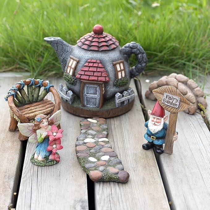 Ymiko Setas de Hadas Figuras en Miniatura Adorno de estatuas de casa de jard/ín para decoraci/ón de casa de mu/ñecas DIY