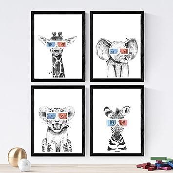Nacnic Set de 4 láminas de Animales Infantiles con Gafas 3D,en ...