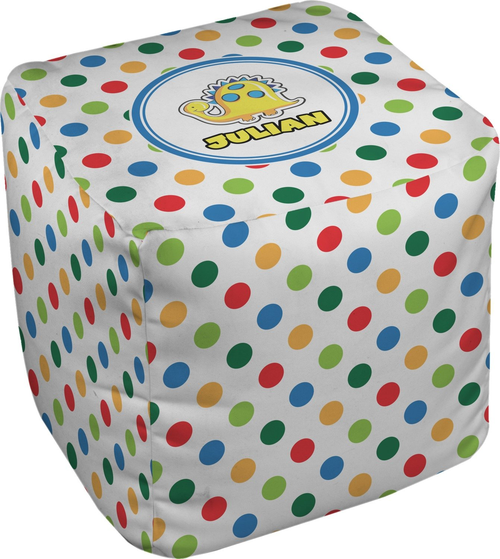 RNK Shops Dots & Dinosaur Cube Pouf Ottoman - 13'' (Personalized)