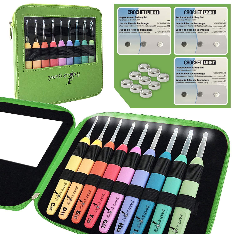 Crochet Kit, 9 Ergonomic Crochet Hooks, Crochet Needles Set, Led Crochet Hook Set W/Ergonomic Handle, Bonus Crochet Hook Case and 9 Batteries! 9 Knitting Needles, 2.5mm to 6.5mm(Green w/ 9 Batteries)