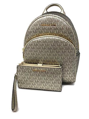 3233bdb52805 Amazon.com: MICHAEL Michael Kors Abbey MD Backpack bundled Michael Kors  Logo Jet Set Travel Double Zip Wristlet Wallet Pale Gold Metallic: Shoes