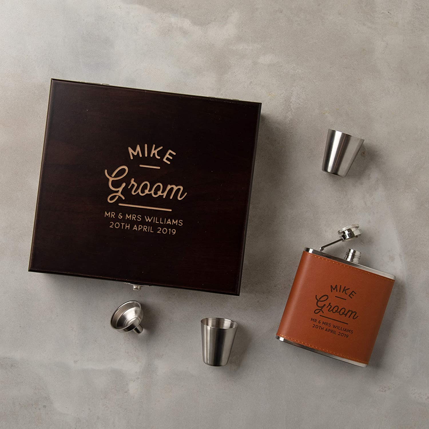 Amazon Com Personalized Groom Hip Flask Gift Set Engraved Gift