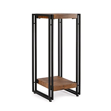 FIVEGIVEN Tall Accent Side End Table for Small Spaces Living Room Night Stand for Bedroom Rustic Brown