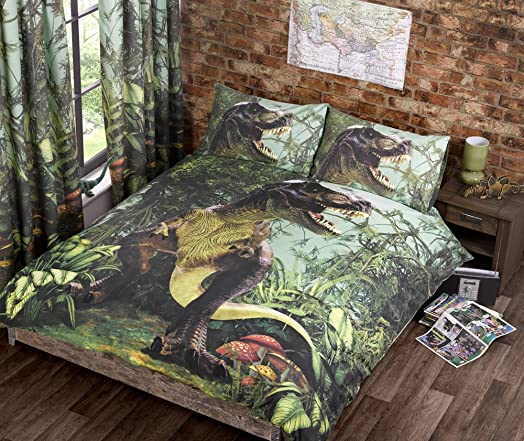 T Rex Double Quilt Duvet Cover Bed Set Pcases Dinosaur Bedding - T rex bed