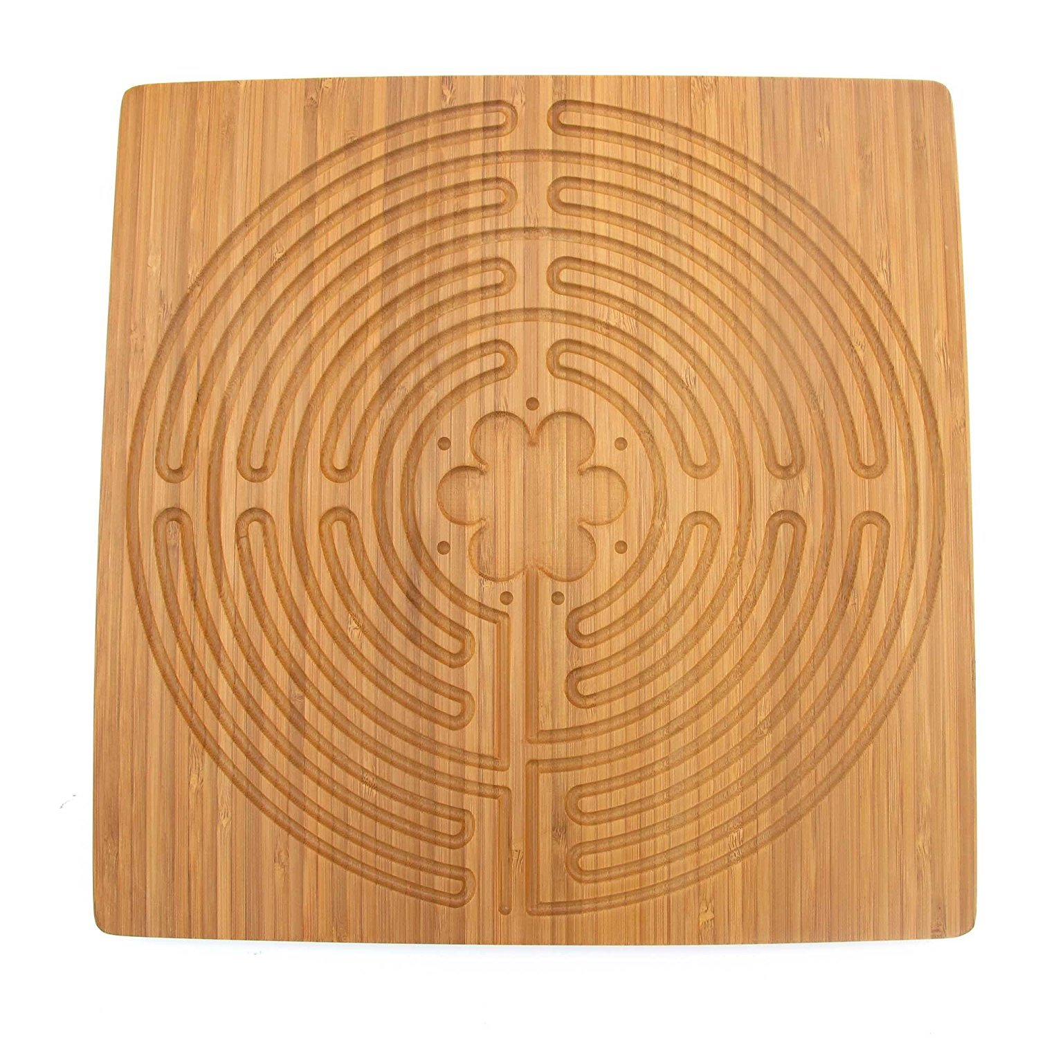 Chartres Finger Labyrinth for Mindfulness and Meditation. Reduce Stress with Labyrinth Finger Meditation. (Square-Chartres-Large) by MOMMAS WOODEN SPOON