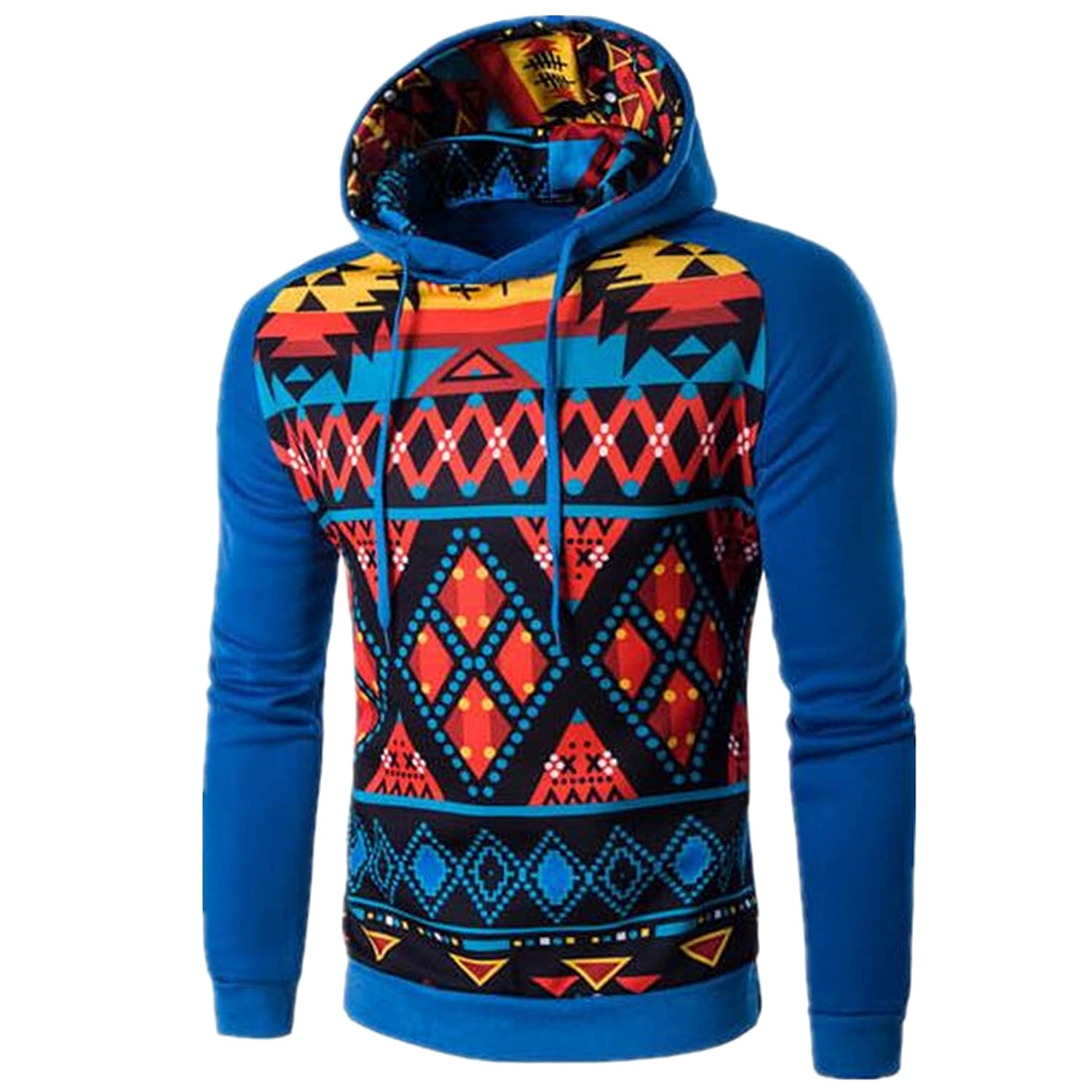 Allonly Mens Pullover Long Sleeve Casual National Style Hoodie Autumn Outwear