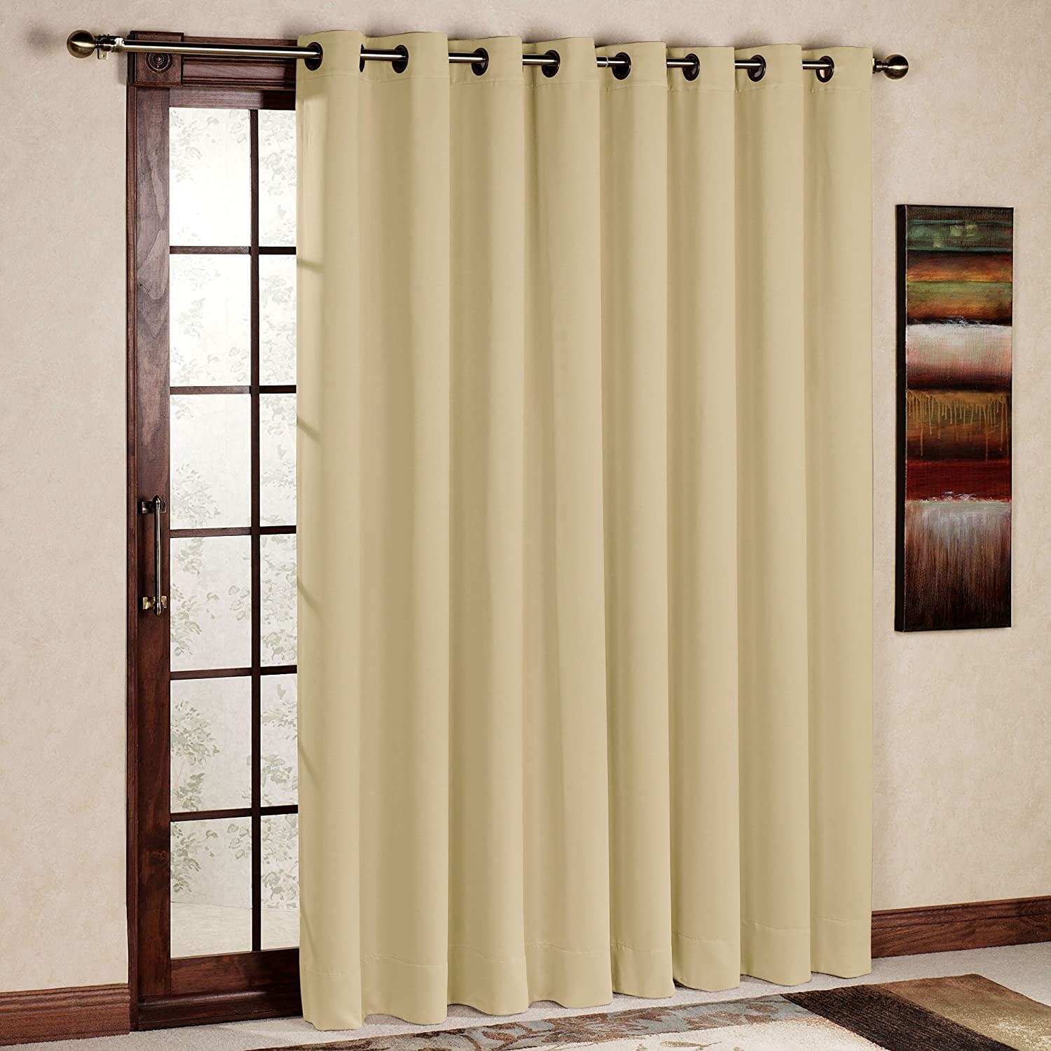 Amazon rhf wide thermal blackout patio door curtain panel amazon rhf wide thermal blackout patio door curtain panel sliding door insulated curtainsextra wide curtains100w by 84l inches beige home kitchen vtopaller Gallery