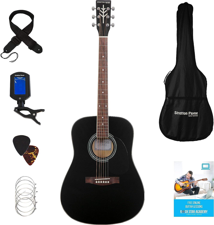 Stretton Payne Dreadnought Guitarra Acústica de Cuerdas de Acero ...