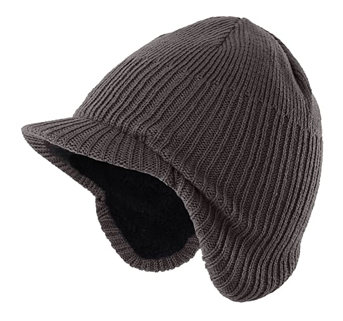 7d47471c7dc Home Prefer Toddler Boys Winter Hat Fuzzy Knitted Kids Hat w. Visor Earflaps  Hat Gray  Amazon.ca  Clothing   Accessories