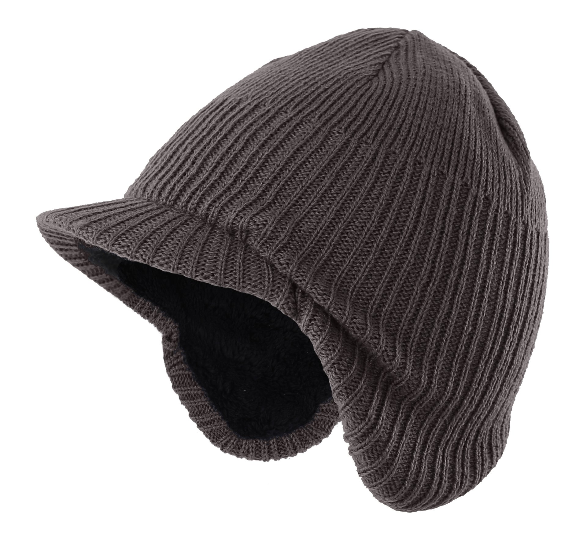 Home Prefer Toddler Boys Winter Hat Warm Kids Knitted Hat with Visor Earflaps Hat Gray Medium