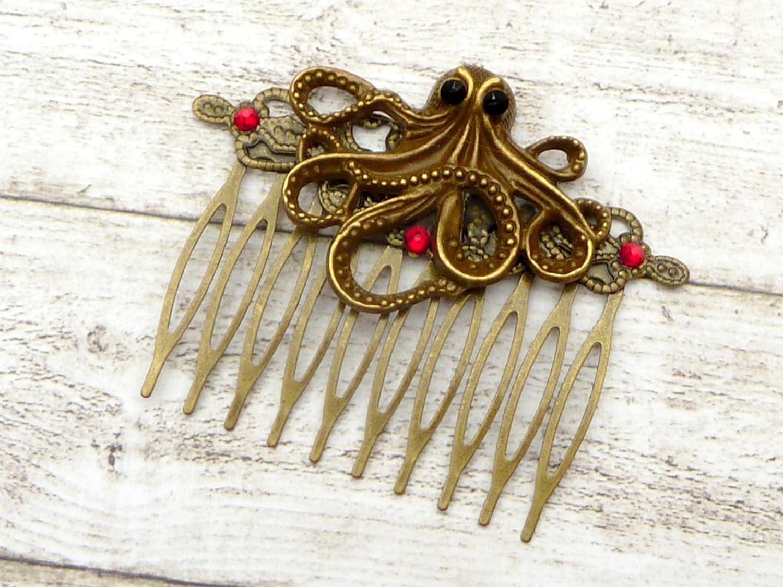 Steampunk Haarkamm mit Krake, antik Haarschmuck