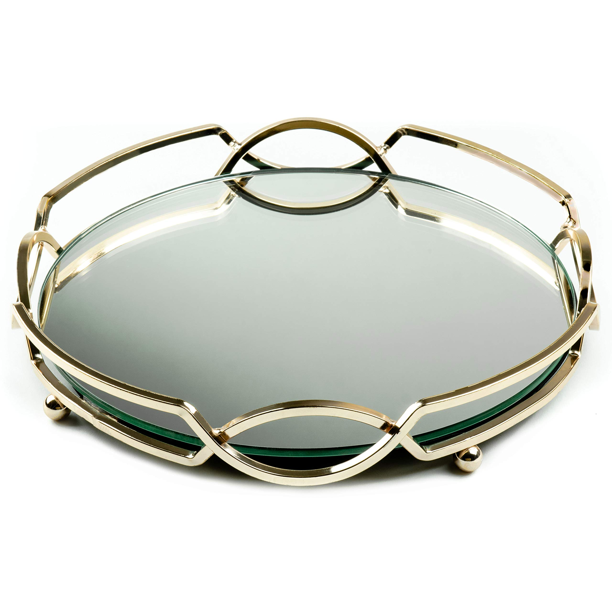lucaslo Set of Glamor Gold Vanity Mirror Tray and Pocket Makeup Mirror, Coffee Table Tray, Living Room Storage, Bathroom Decor, Accent Table Tray, Perfume Round Serving Tray, Wedding Centerpieces by lucaslo