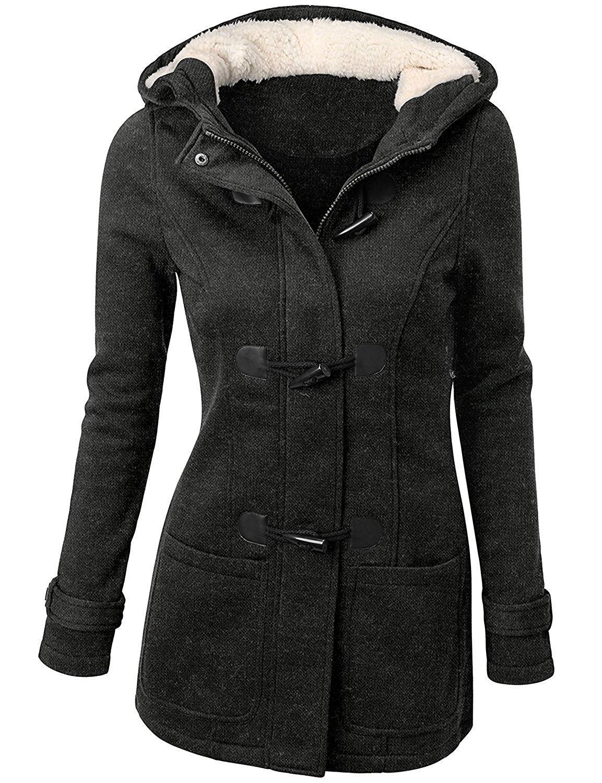 OLUOLIN Wool-Bland Everyday Coat For Women Pea Coat With Hood Sweatshirt Jacket Grey