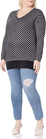 Just My Size Womens OJ330 Lightweight V-Neck Tunic Long Sleeve Shirt
