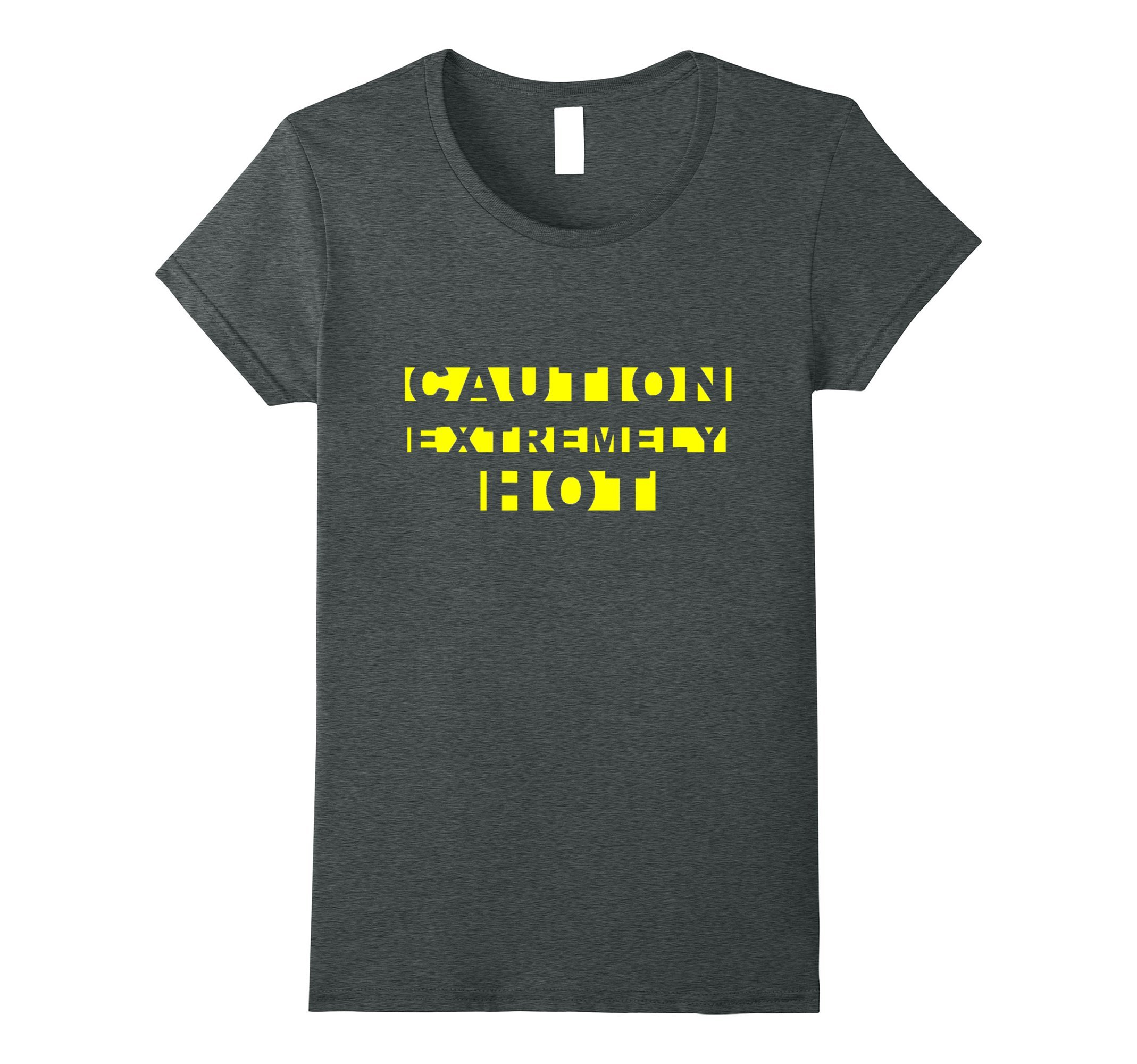 Womens CAUTION EXTREMELY HOT Funny Crime Scene Tape Yellow Text Tee XL Dark Heather by [MRKprints]