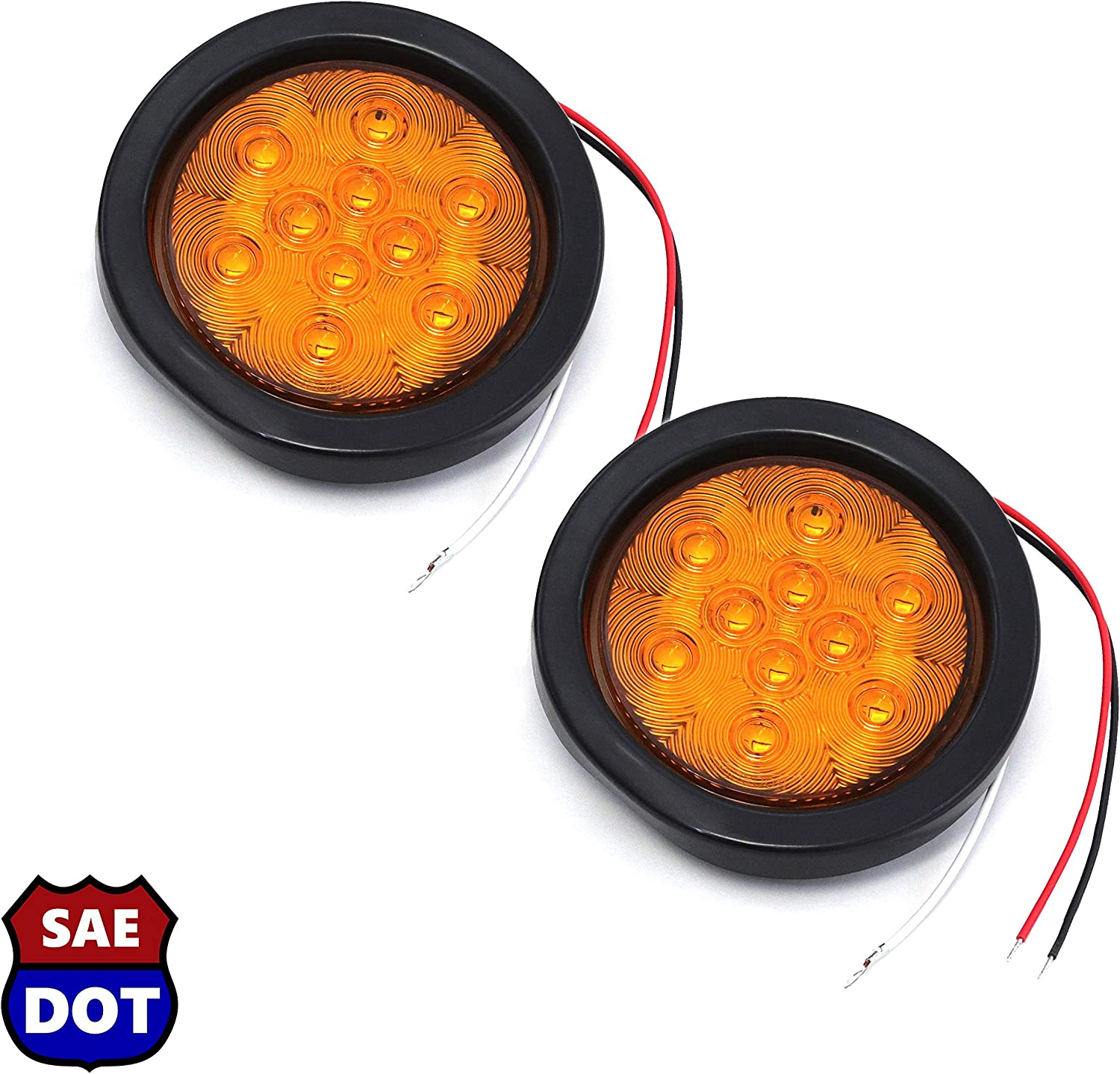 2 Amber 12 LED Stop Turn Tail Light Brake Flush Pair Truck Trailer Universal Red Hound Auto DOT Compliant 4 Inches Round