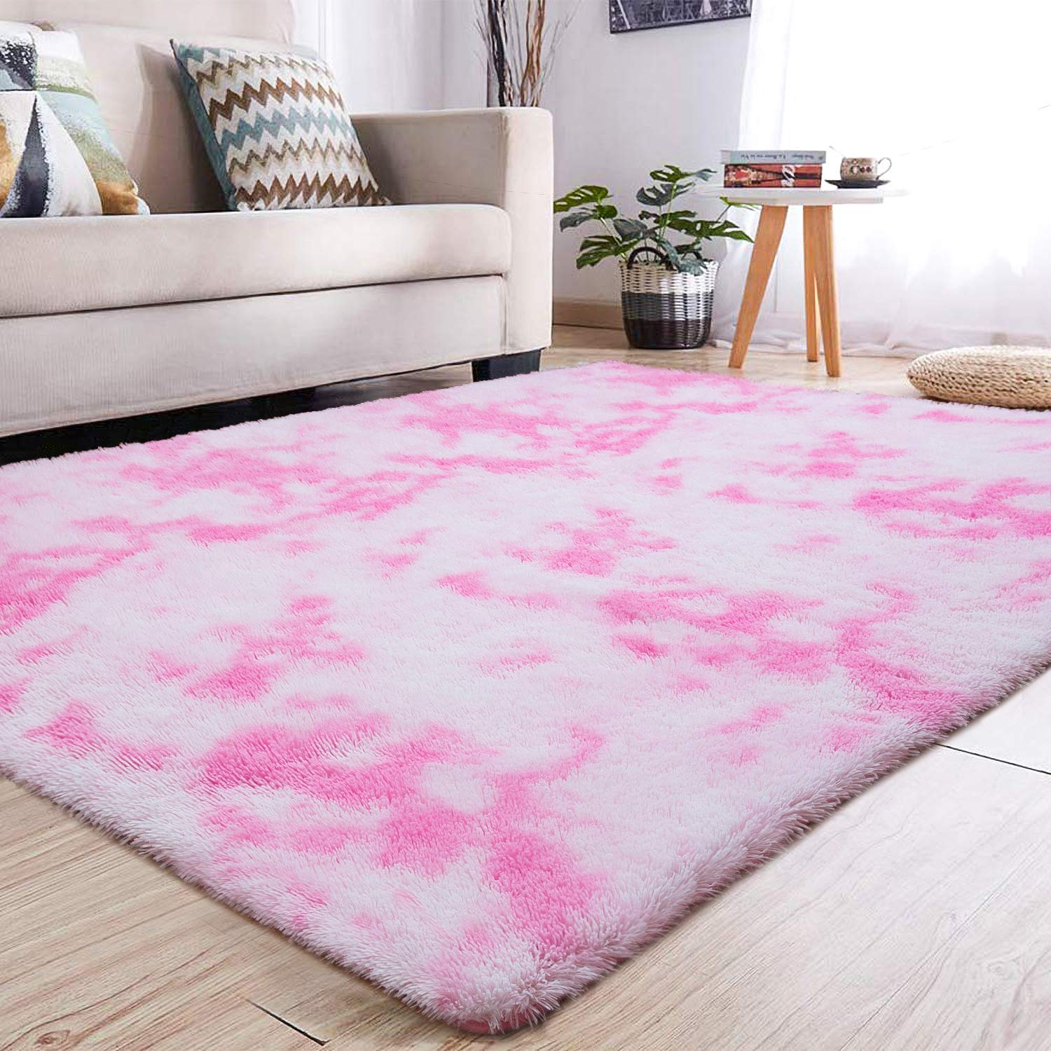 YJ.GWL Soft Indoor Large Modern Area Rugs Shaggy Fluffy Carpets Suitable for Living Room and Bedroom Nursery Rugs Abstract Accent Home Decor Rugs for Girls and Kids 4x6 Feet Pink