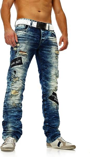TALLA 30W / 34L. Jeans Azul Desgarrados de Hombre Destruidos con Lavado Ligero Red Bridge